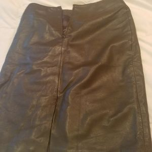 Saks Fifth Avenue Skirts - Brown Leather skirt Saks Fifth Ave- Made in India